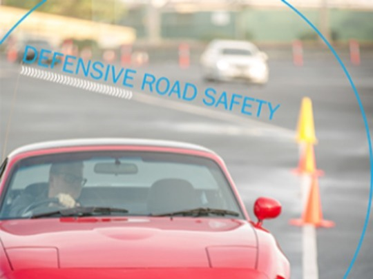 Full day Defensive Road Safety training program. Combination of classroom interactive discussions and driving activities, includes lunch, coffee and snacks.